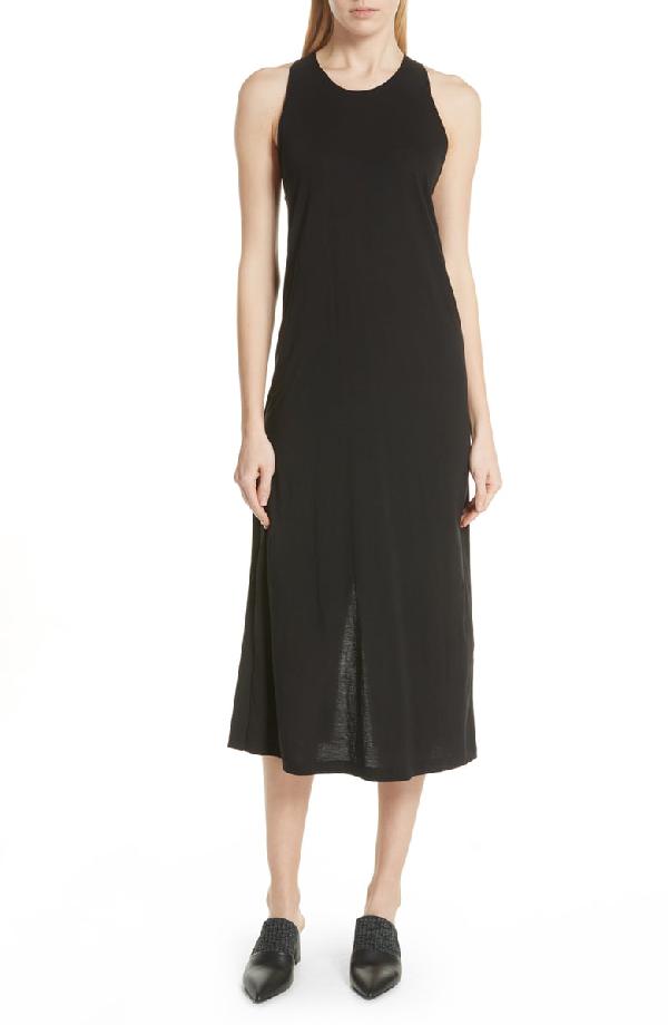 Vince Twist Back Pima Cotton Dress In Black