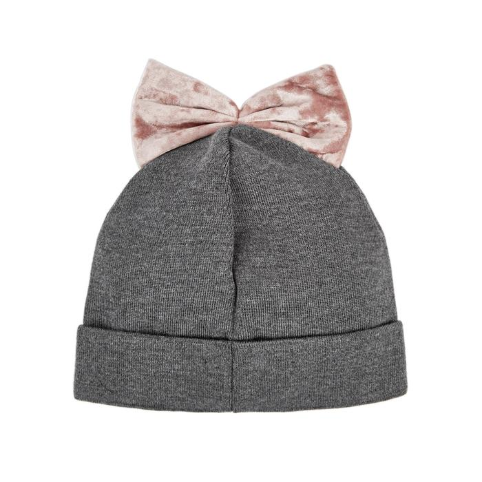 Federica Moretti Army Green Bow-Embellished Beanie In Grey