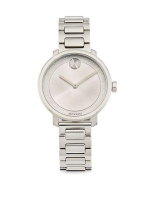 Movado Bold Frosted-Dial Stainless Steel Bracelet Watch In Silver