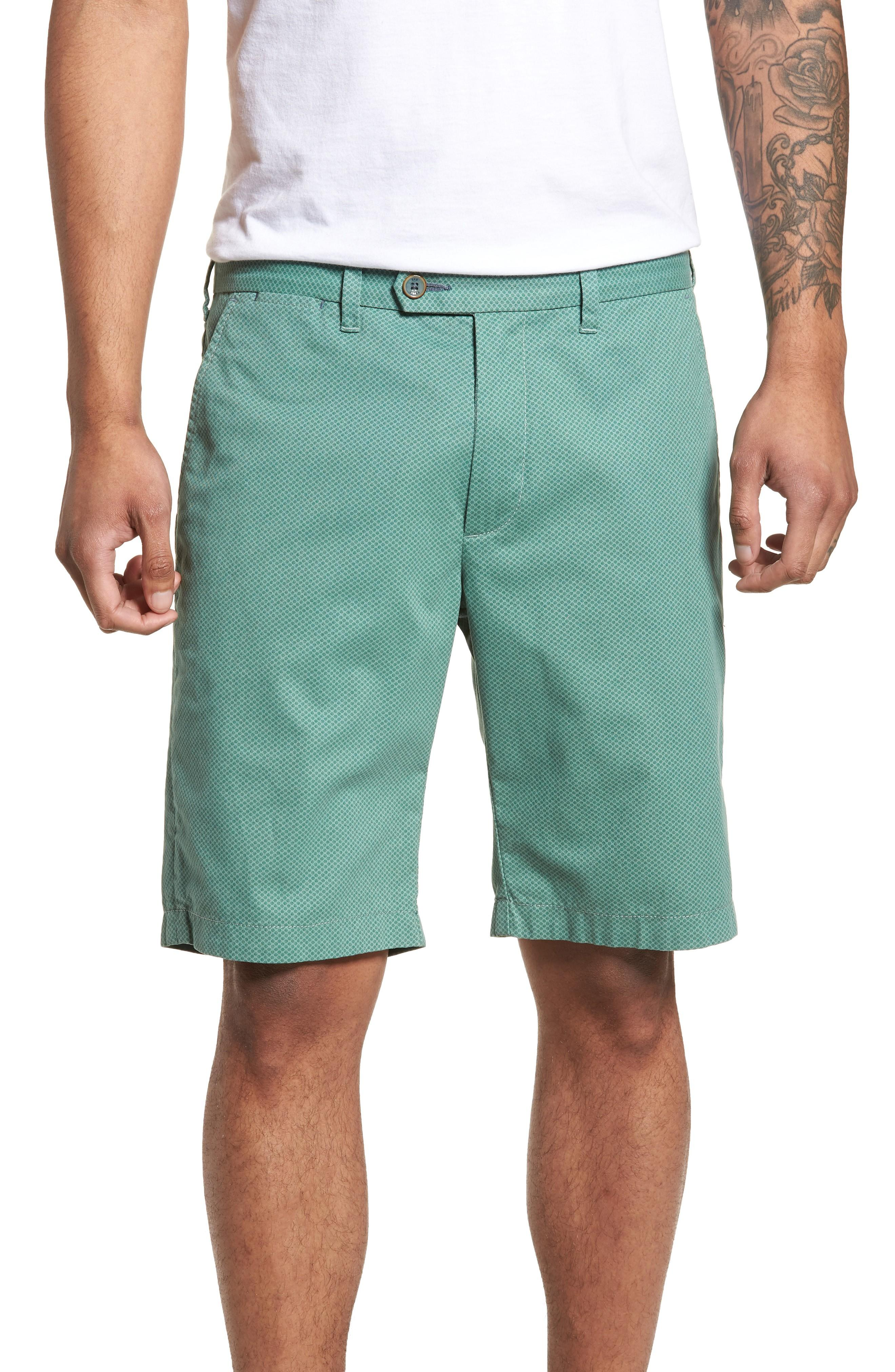 Ted Baker Print Cotton Shorts In Green