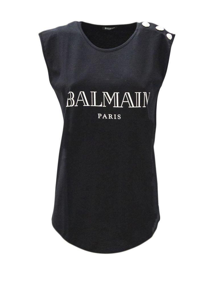 9d2cbf1d Balmain Black Cotton Jersey T-Shirt In Nero | ModeSens