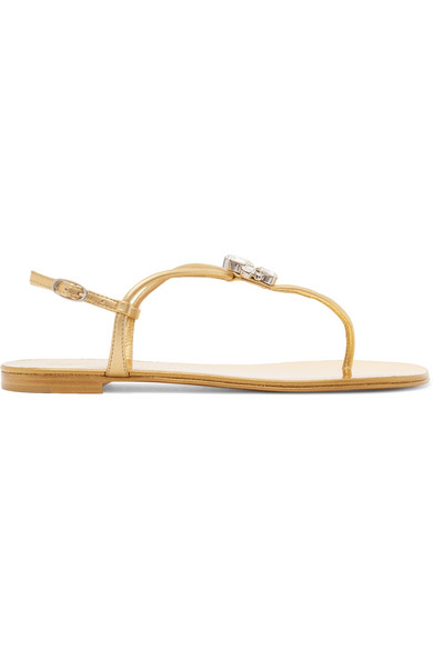 Giuseppe Zanotti Nuvorock Crystal-Embellished Metallic Leather Sandals In Gold