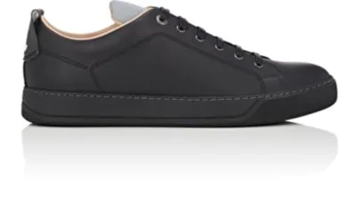 Lanvin Reflective-Detail Leather Sneakers In Black