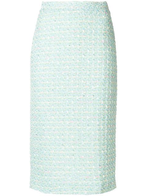 Alessandra Rich Bouclé Pencil Skirt - Green