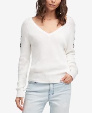 Dkny Cotton Lace-Up Sleeve Sweater In Ivory/Navy