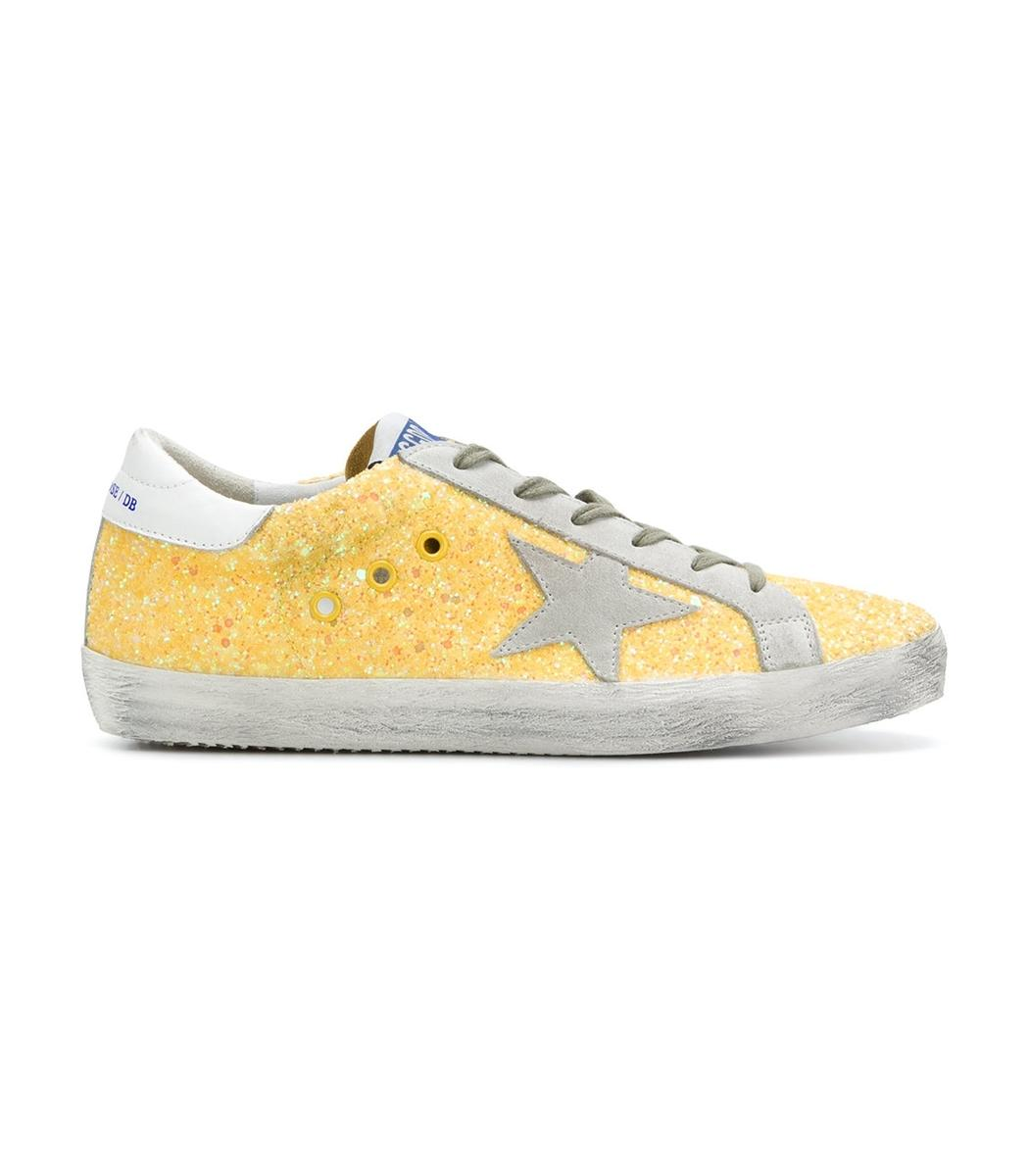 Golden Goose Yellow Glitter Superstar Sneaker