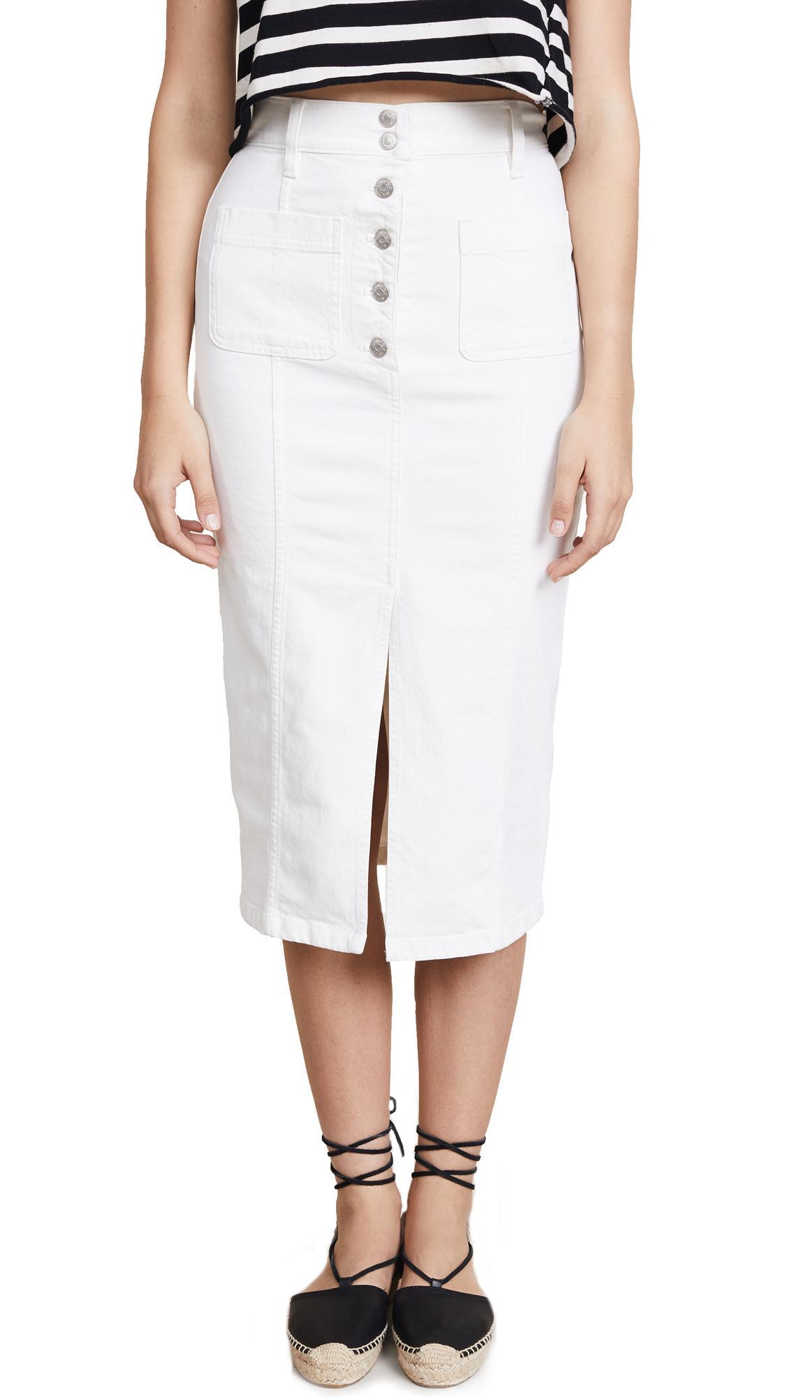 995b3fbe40 Madewell White High Slit Jean Skirt | ModeSens