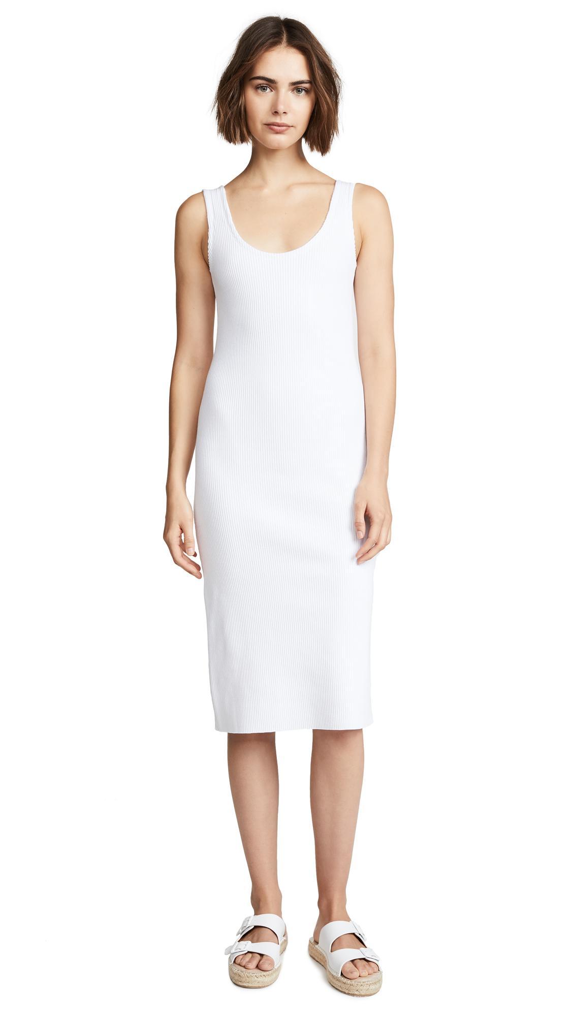 76d38da5dea83 Vince Ribbed Tank Dress In Optic White