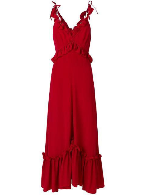 Rossella Jardini Ruffle Trim Maxi Dress - Red