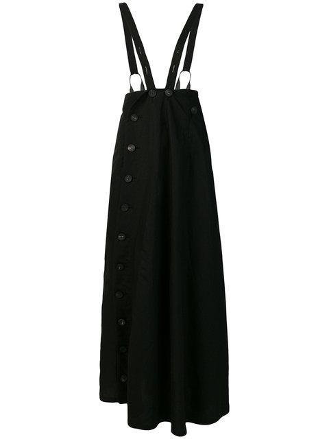 Yohji Yamamoto Buttoned Shoulder Strap Skirt