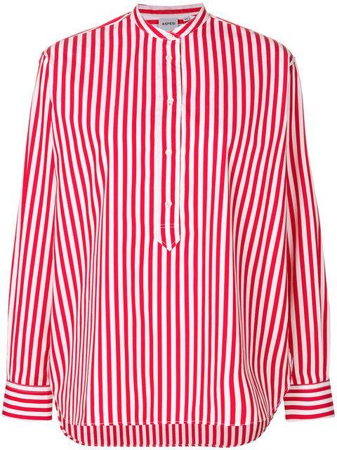 Aspesi Striped Mandarin-collar Shirt