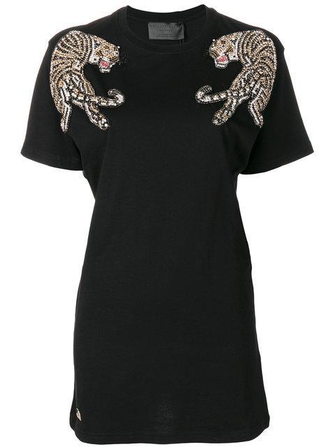 Philipp Plein Tiger Embellished T In Black