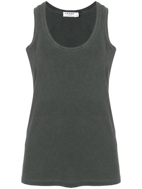 Frame Washed Out Tank Top In Black