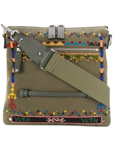 Valentino Garavani Rockstud Bordado Messenger Bag
