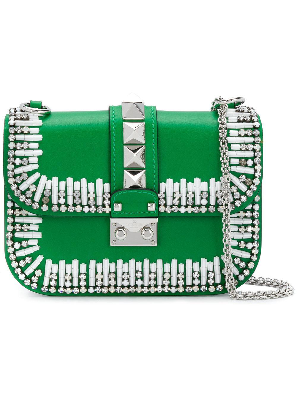 Valentino Garavani Lock Bead-embellished Shoulder Bag