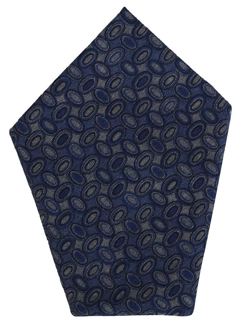 Bagutta Print Detailing Pocket Square In Blue