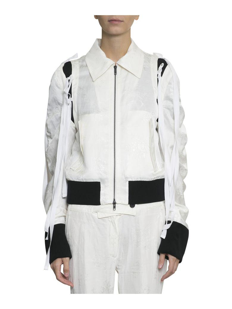 Ann Demeulemeester Viscose And Jacquard Linen Bomber In Bianco