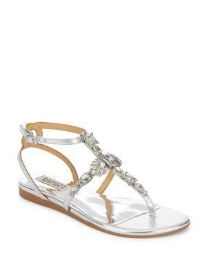 Badgley Mischka Melinda Ii Embellished Evening Sandals In Silver
