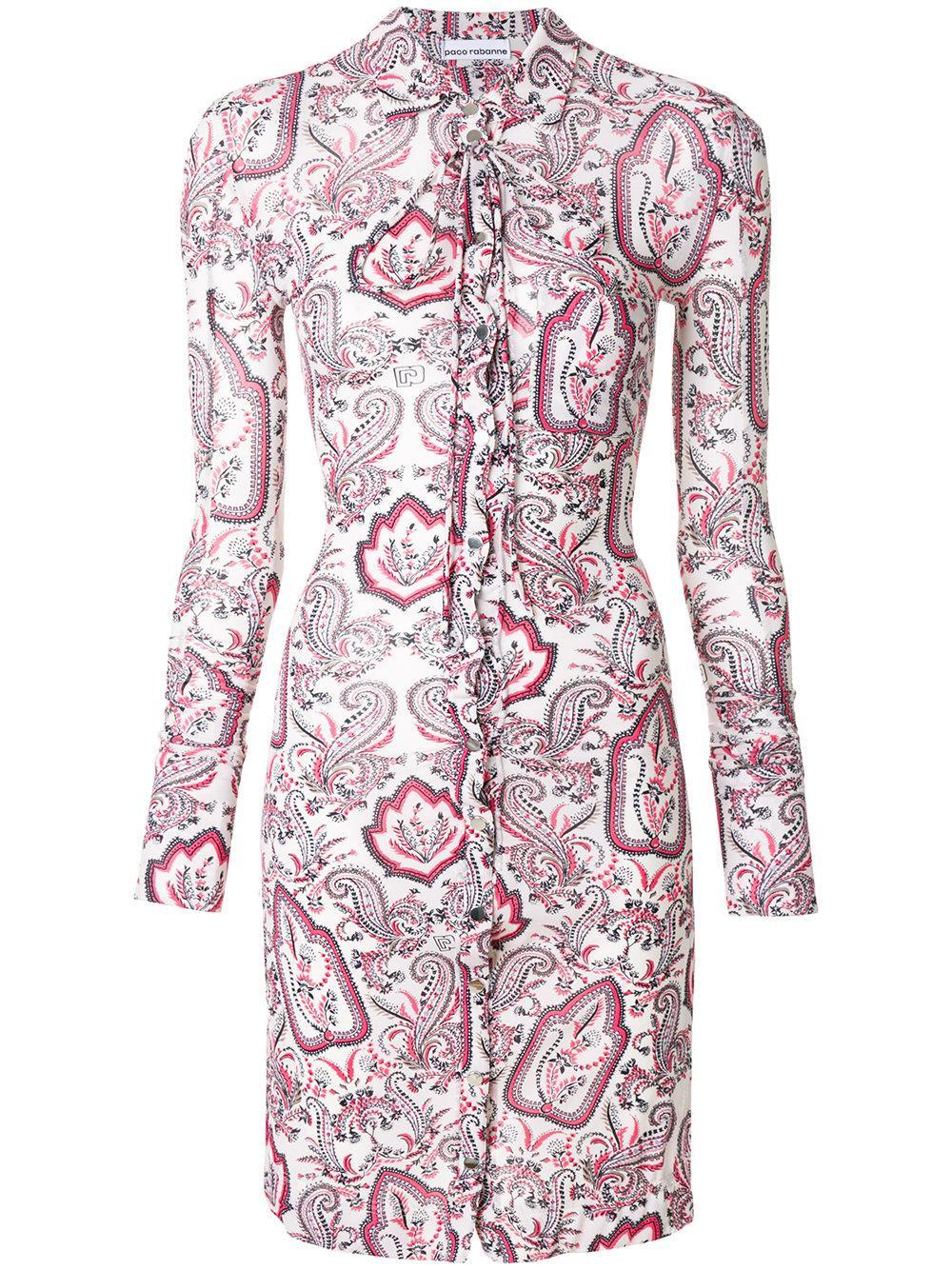 Paco Rabanne Paisley Print Shirt Dress