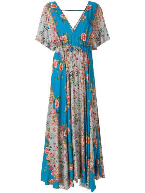 Black Coral Long Printed Dress - Blue