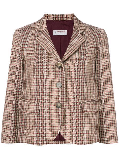 Alberto Biani Cropped Plaid Jacket - Brown