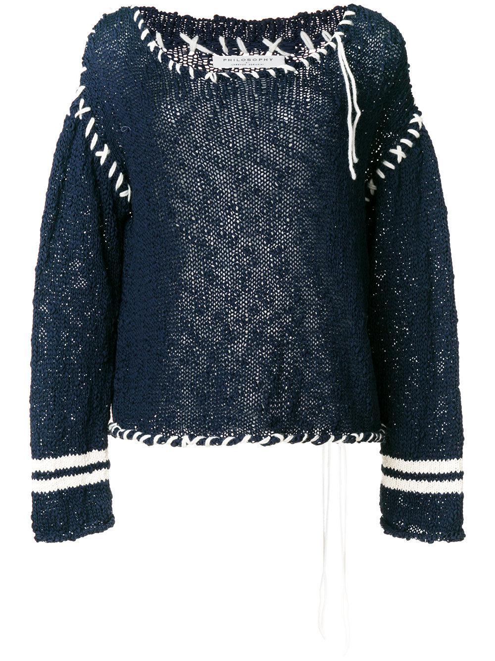 Philosophy Di Lorenzo Serafini Contrast Stitch Sweater - Blue