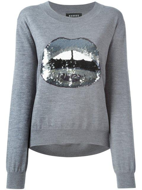 Markus Lupfer Sequinned Lips AppliquÉ Sweater In Grey