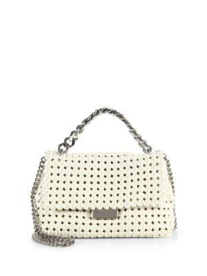 Stella Mccartney Becket Small Woven Faux Leather Shoulder Bag In Ivory