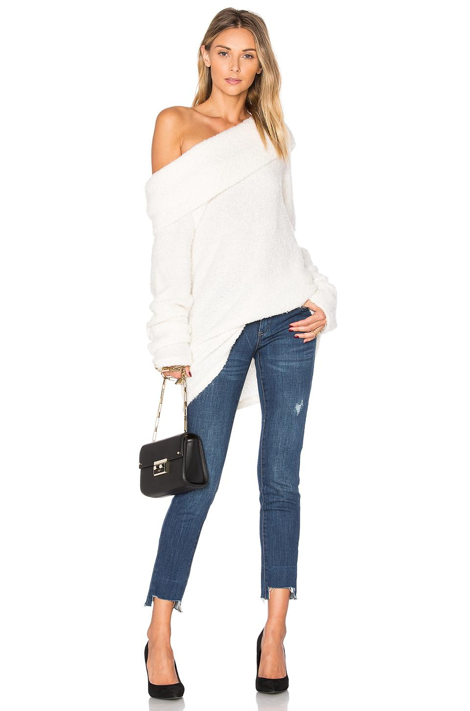 Project Social T Monet Off Shoulder Sweater In Ivory