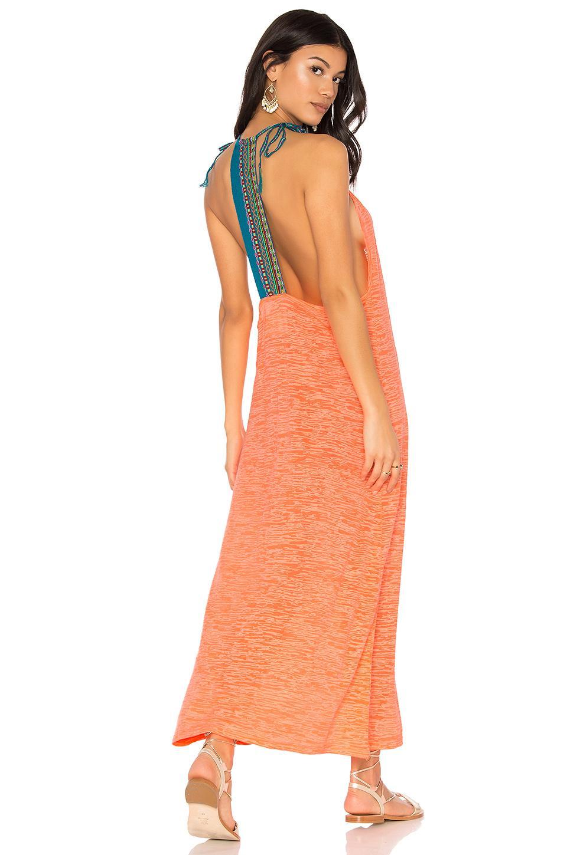 Pitusa Inca Back Dress In Orange