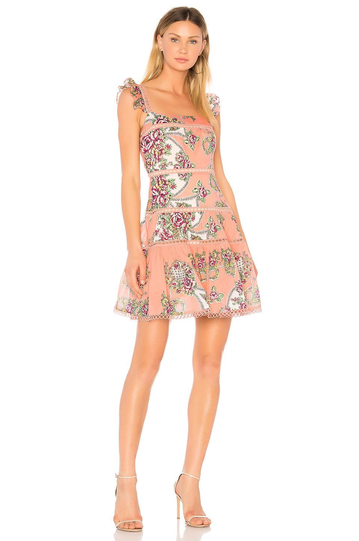 Aijek Naomi Flutter Sleeve Dress In Pink