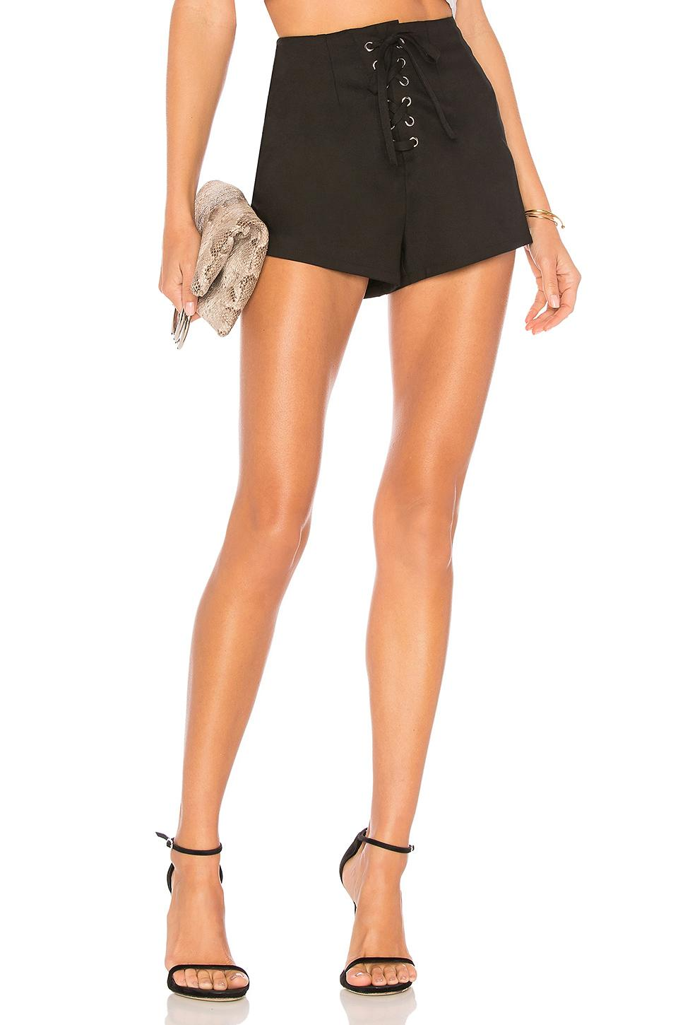 By The Way. Chiara Lace Up Short In Black