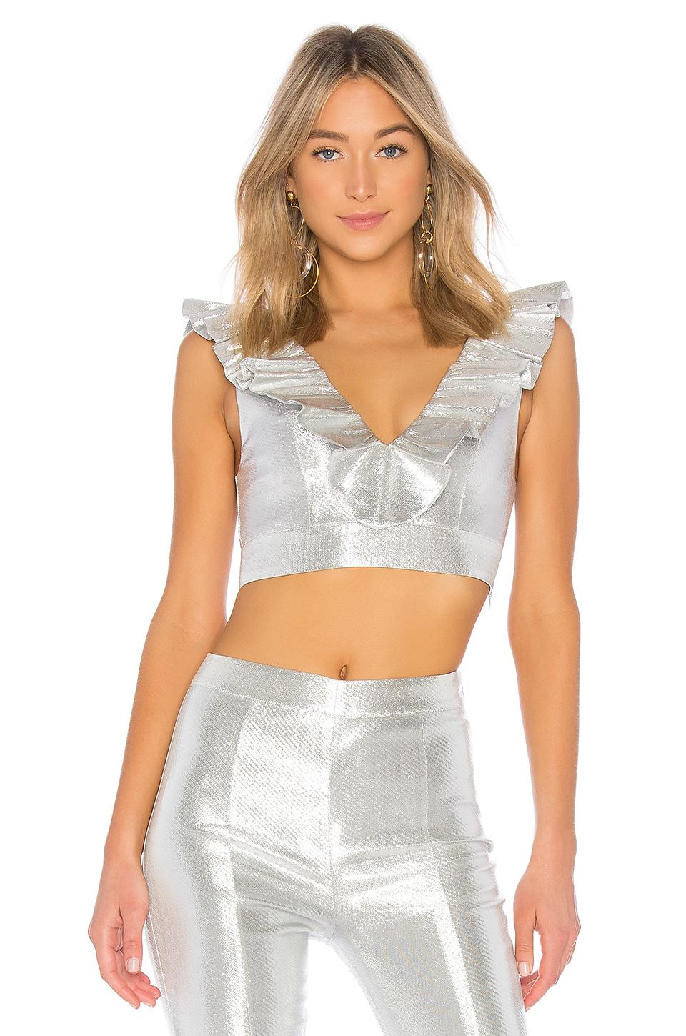 X By Nbd Fever Top In Metallic Silver