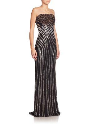 Pamella Roland Embellished Strapless Gown In Black-multi