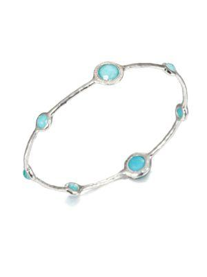 Ippolita Stella Turquoise, Mother-of-pearl, Diamond & Sterling Silver Doublet Bangle Bracelet In Silver-turquoise