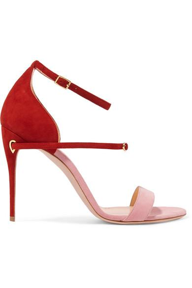 Jennifer Chamandi Roland Two-tone Suede Sandals In Pink