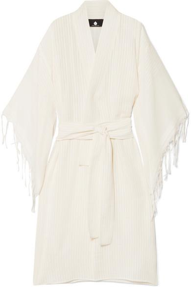 Su Paris Kimo Fringed Cotton-gauze Kimono In Ecru