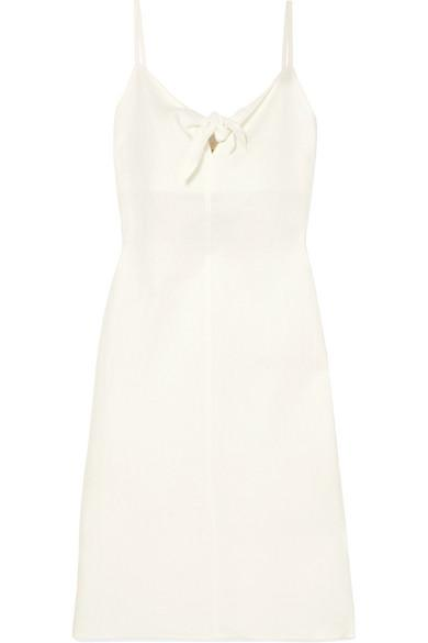 Simon Miller Oriska Tie-front Linen Midi Dress In Cream