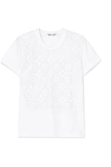 Comme Des GarÇons Comme Des GarÇons Crocheted Cotton And Jersey T-shirt In White