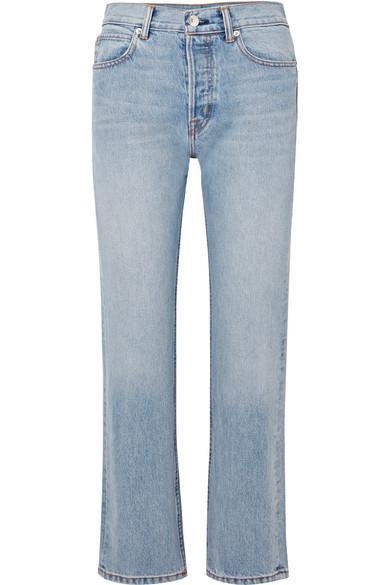 Helmut Lang Cropped High-rise Straight-leg Jeans In Light Denim