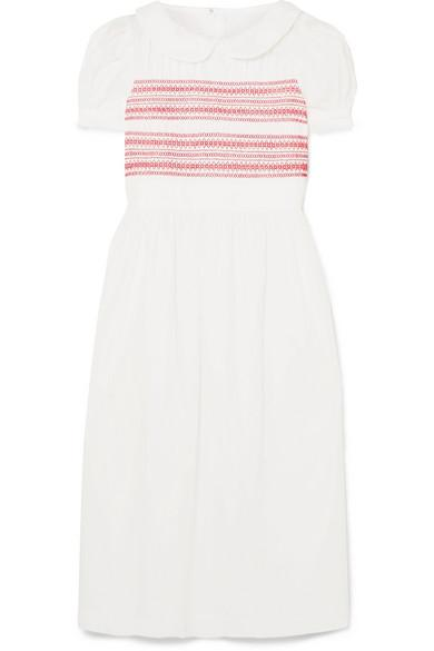 Comme Des Garcons Girl Embroidered Shirred Cotton-poplin Midi Dress In White