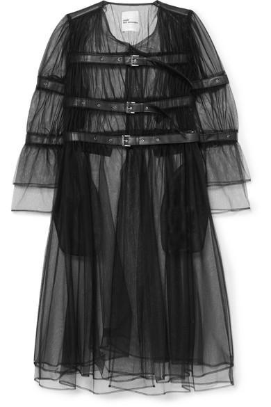 Noir Kei Ninomiya Buckled Faux Leather-trimmed Tulle Jacket In Black