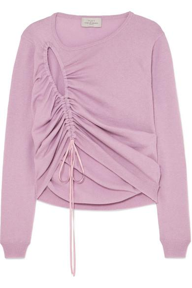 Preen By Thornton Bregazzi Hyasinth Ruched Merino Wool-blend Sweater In Lilac