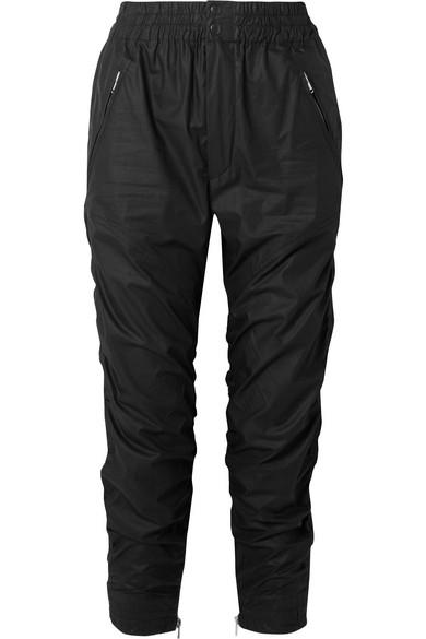 Isabel Marant Marston Ruched Cotton-gabardine Tapered Pants In Black