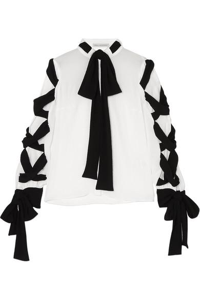 Emilia Wickstead Fritz Tie-detailed Crinkled-crepe Blouse In White