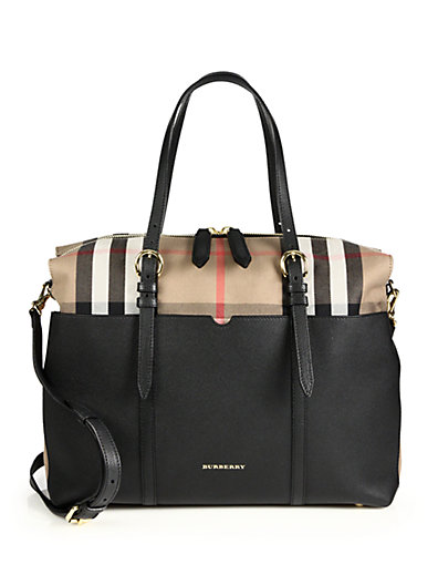Burberry Mason Check-Canvas & Leather Diaper Tote Bag In Black