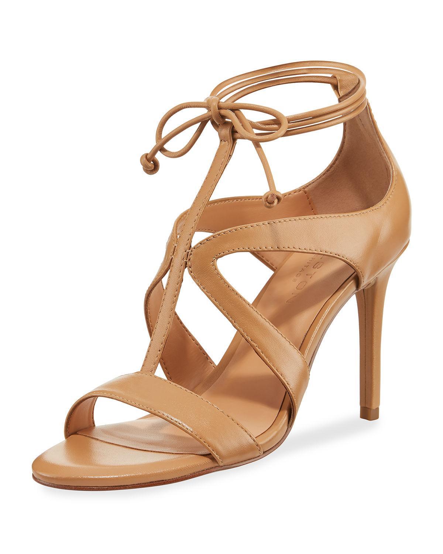 9a9743f8cdee37 Halston Heritage Woman Jordan Lace-Up Cutout Suede Sandals Tan ...