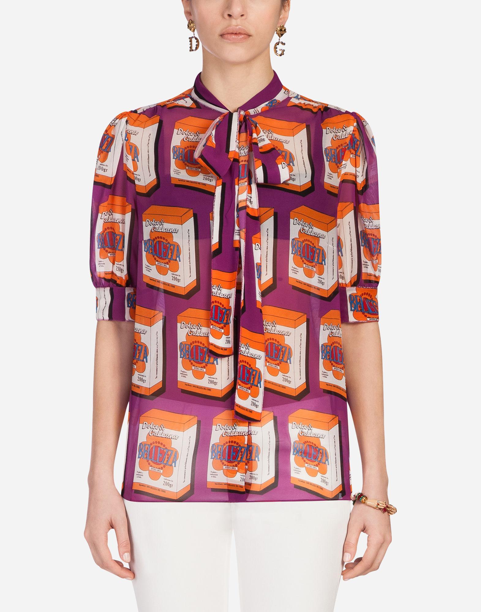 Dolce & Gabbana Printed Silk Shirt In Multicolor