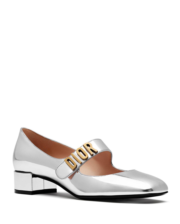 65f67234a56 Dior Baby-D Mirror Calfskin Ballet Pump In Silver