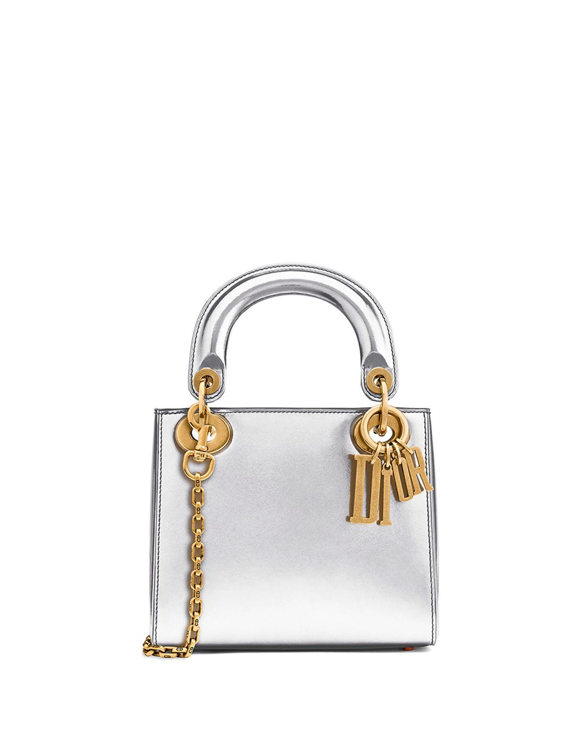 81d033810b1a Dior Mini Lady Bag With Metallic Calfskin And Chain In Gray Pattern ...